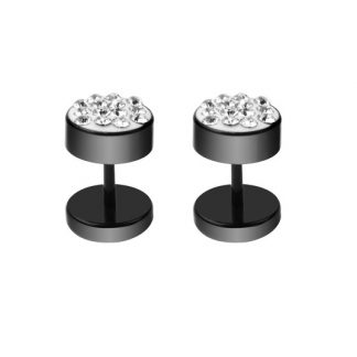 Black Crystal Earrings for Men