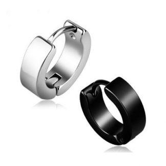 Silver and Black Hoop Earrings for Men