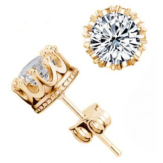 Gold Diamond Crown Earrings for Men